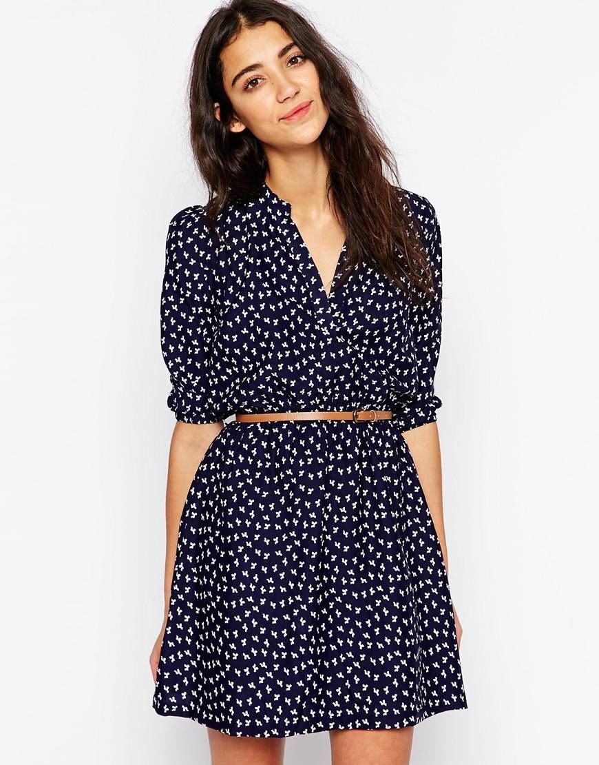 Image 1 of Yumi Shift Dress with Belt in Mini Bow Print