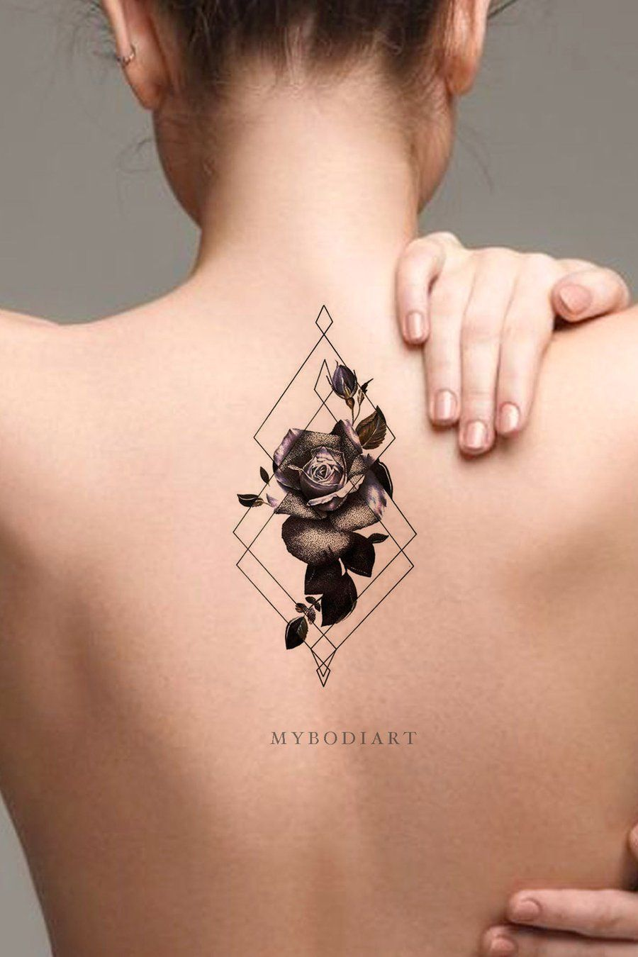 Watercolor Rose Geometric Diamond Back Spine Tattoo Ideas For Women