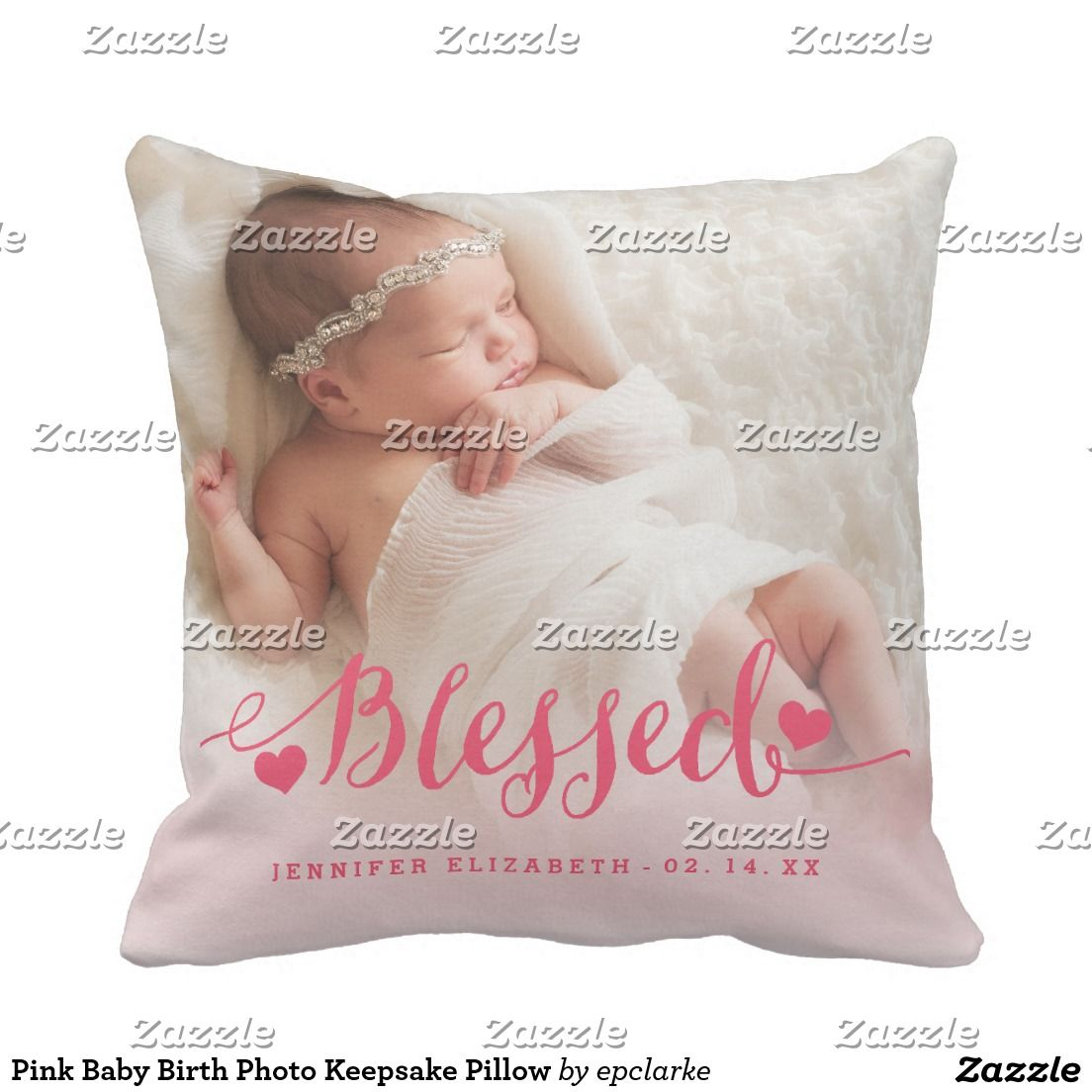 Pink Baby Birth Photo Keepsake Pillow. Inspiration to create your product. The photograph must have good resolution. Inspiración para crear tu producto. La fotografía debe tener buena resolución. Decoración para el hogar. Home decoration. #cojín #pillows