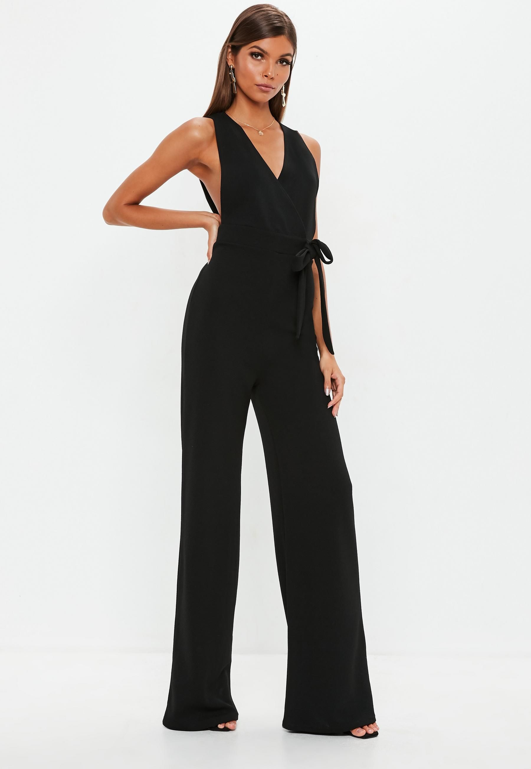 29647db7d024 Missguided Black Pinafore Style Romper