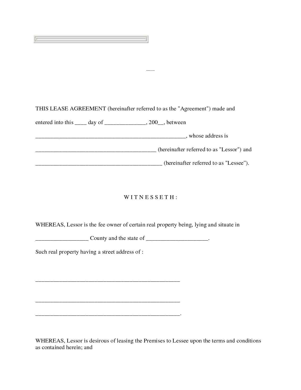 Free Printable Residential Lease Form Generic
