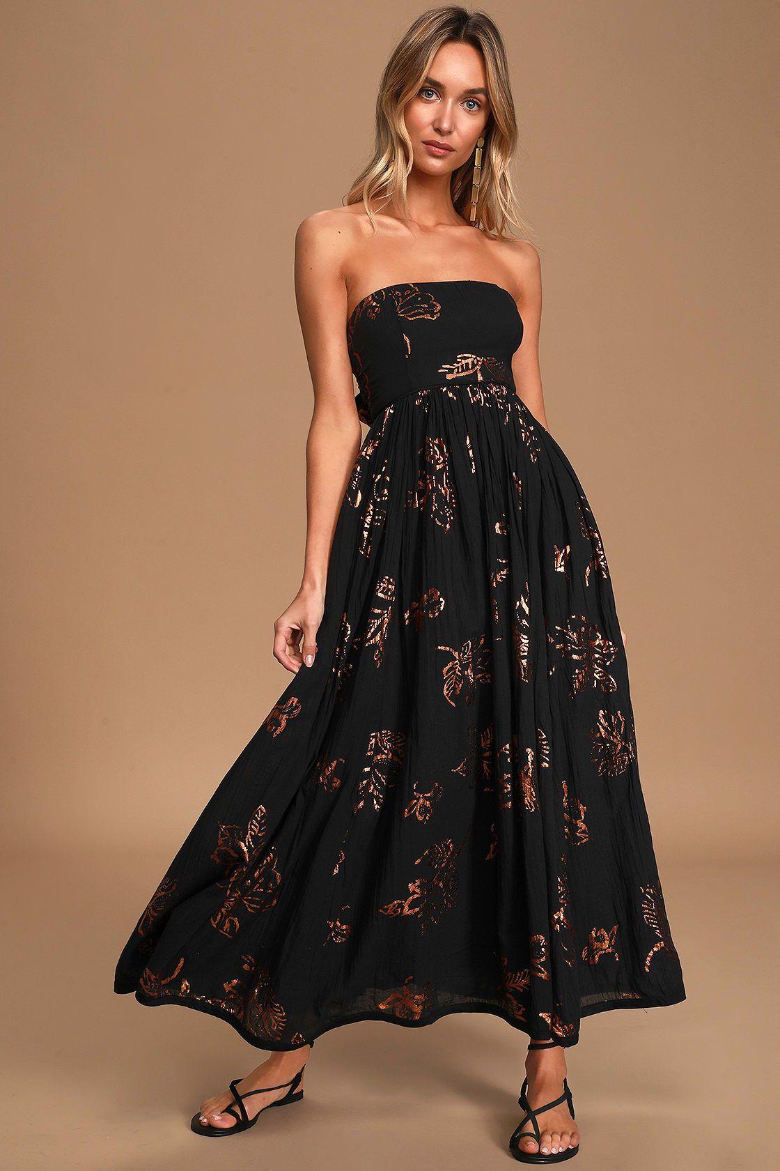 black strapless dress midi