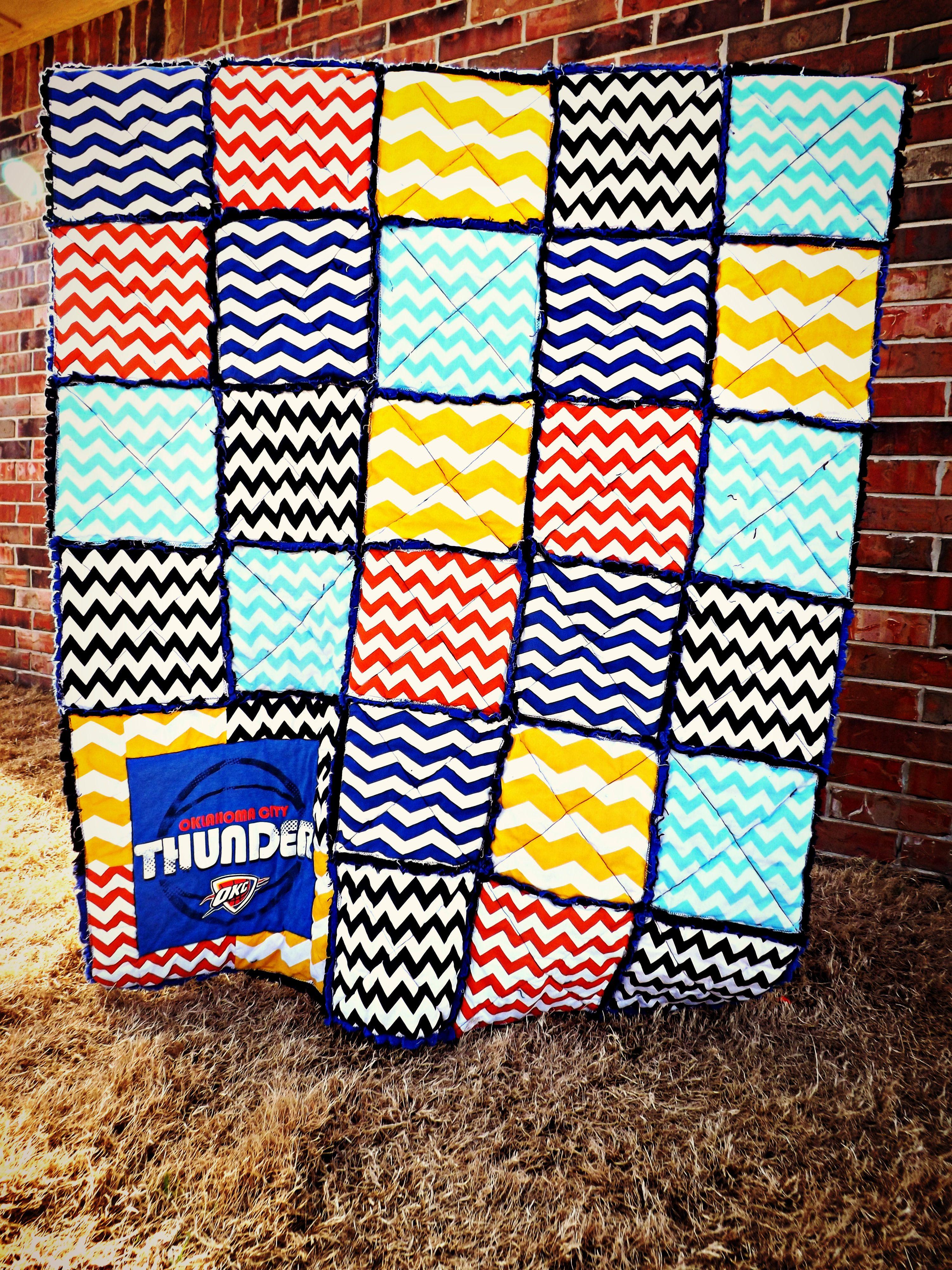 Oklahoma City Thunder rag quilt   My projects   Pinterest ... : quilt city - Adamdwight.com