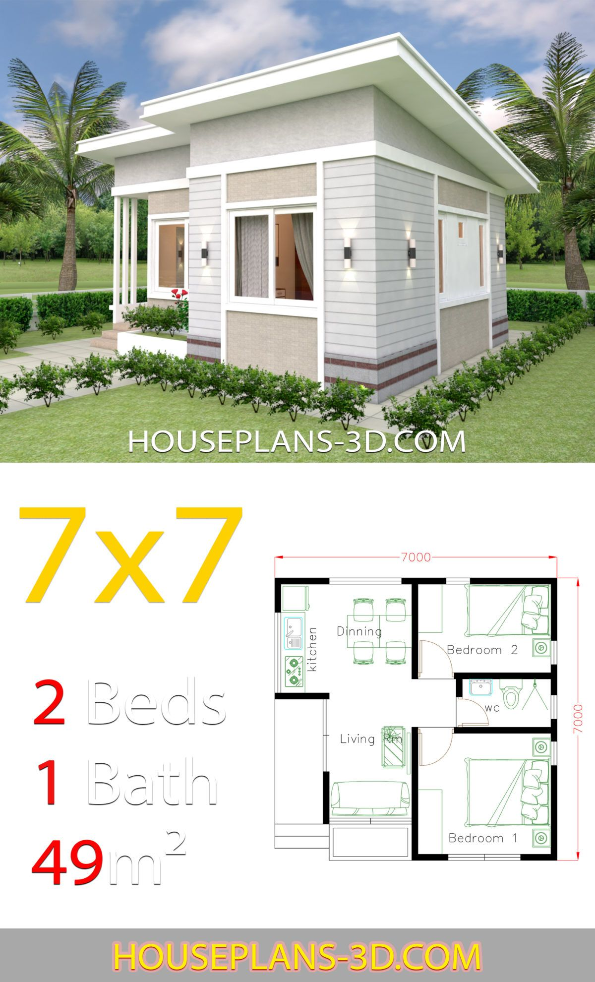 Small House Design Plans 7x7 with 2 Bedrooms - House Plans ...