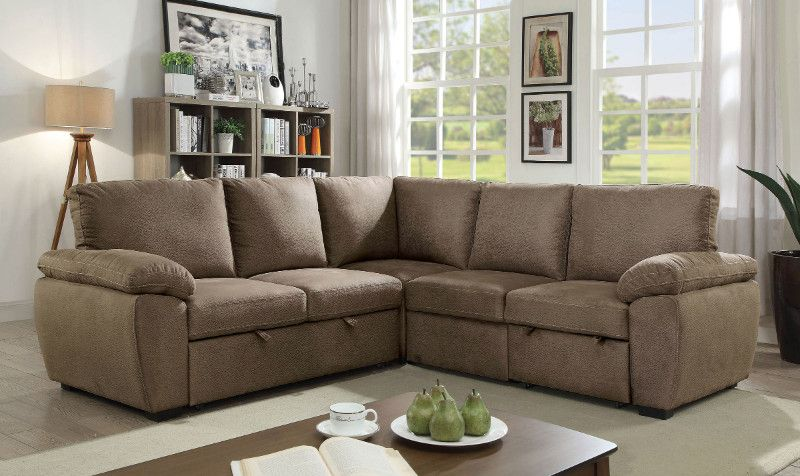 Cm6576 3 Pc Alka Light Brown Faux Nubuck Sectional Sofa Set With Pull Out Sleep Area In 2020 Sectional Sofa Sofa Set Furniture Of America