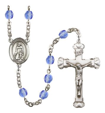 St. Peregrine Laziosi Silver-Plated Rosary with 6mm Saphire Fire Polished beads