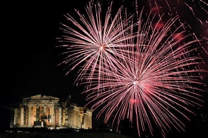 Parthenon lit by fireworks