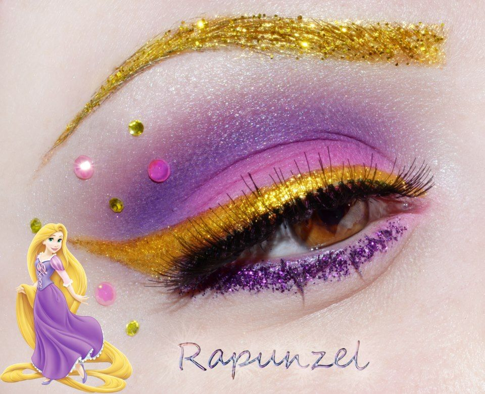 Crystals And Glitter Accent Gold Purple Eye Shadow Inspired By Disneys Rapunzel