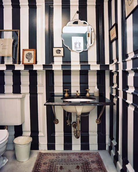 black and white antiqued stripes