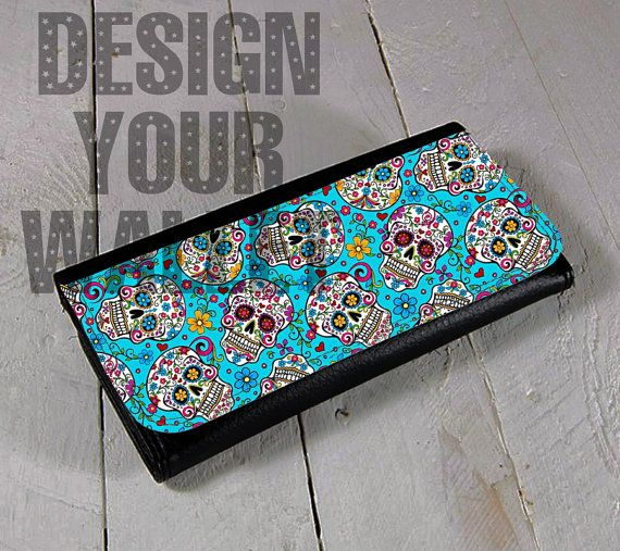 Womens Wallet bifold Leather Sugar skull day of the dead artwork wallet