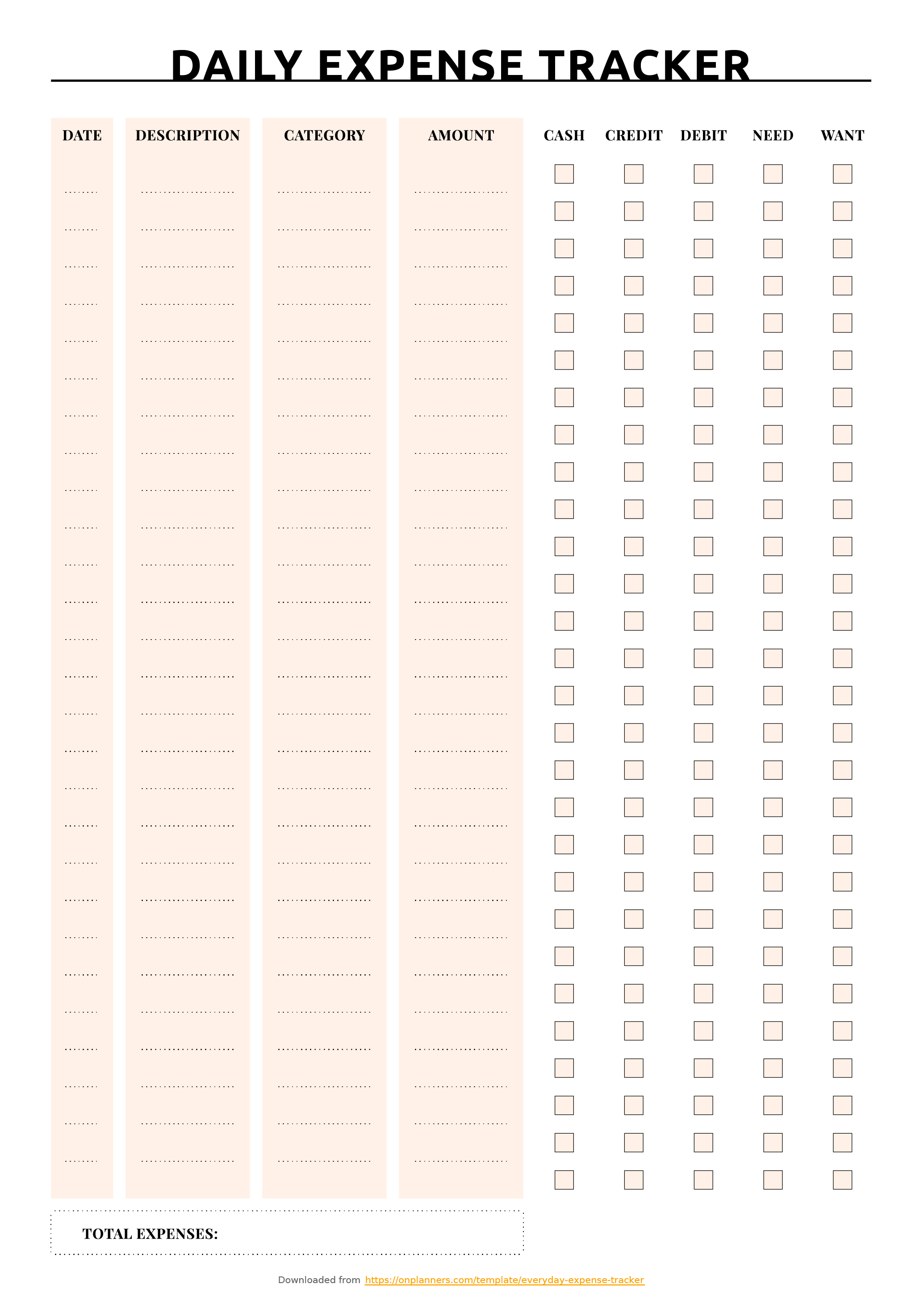 Printable Everyday Expense Tracker Download