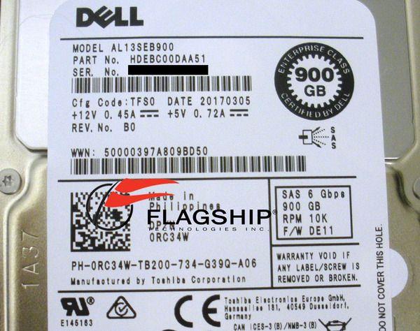 AL13SEB900-DELL Dell 900GB 10K 6Gbps SAS 2.5/'/' Hard Drive