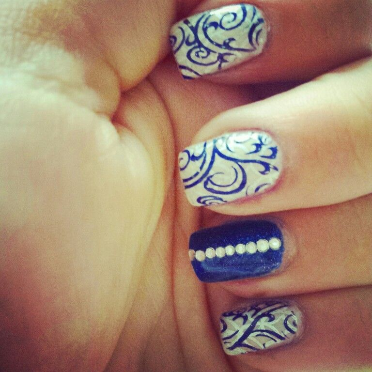 Blue silver and white with rhinestones and swirly stamps