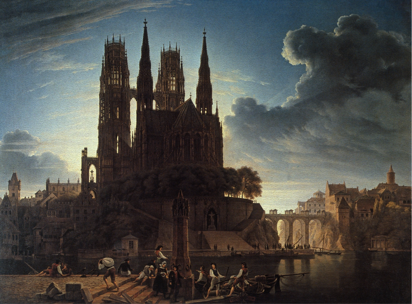Cathedral Towering Over A Town By Karl Friedrich Schinkel 1813 Alte Nationalgalerie Kathedrale Kunstrichtung