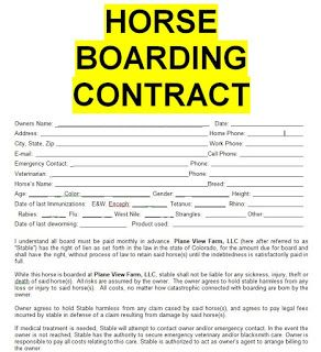 Horse Boarding Contract Sample Template Form In Doc Word Service