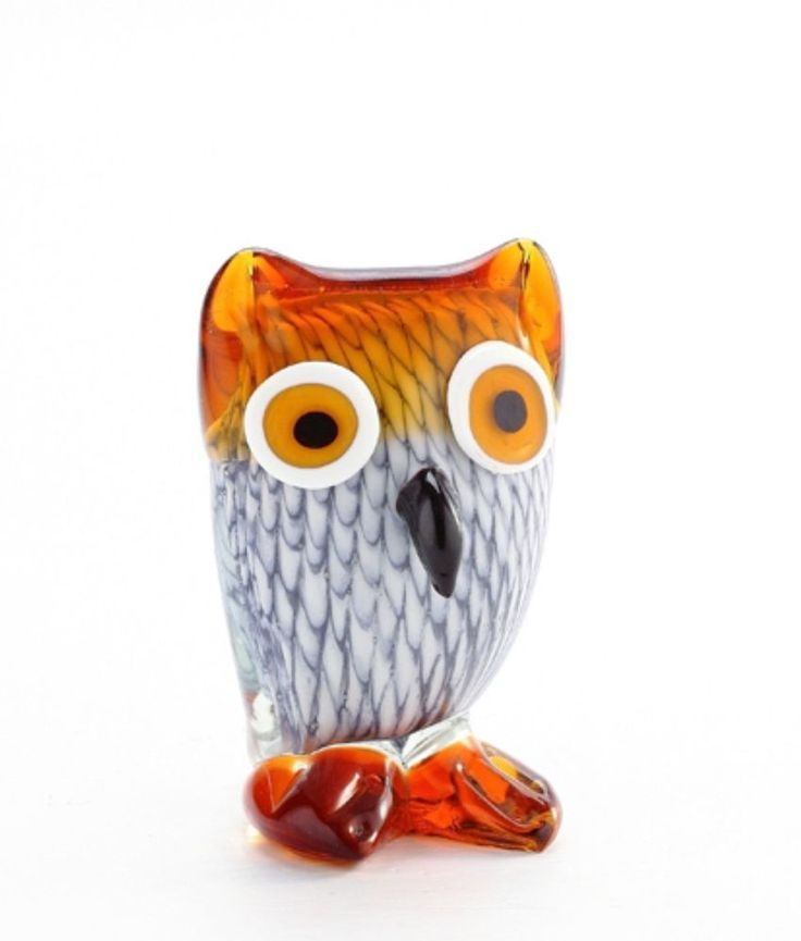Lovely Brown Glass Owl Glass Blown Art Design Wedding Party Home Figurines Gifts
