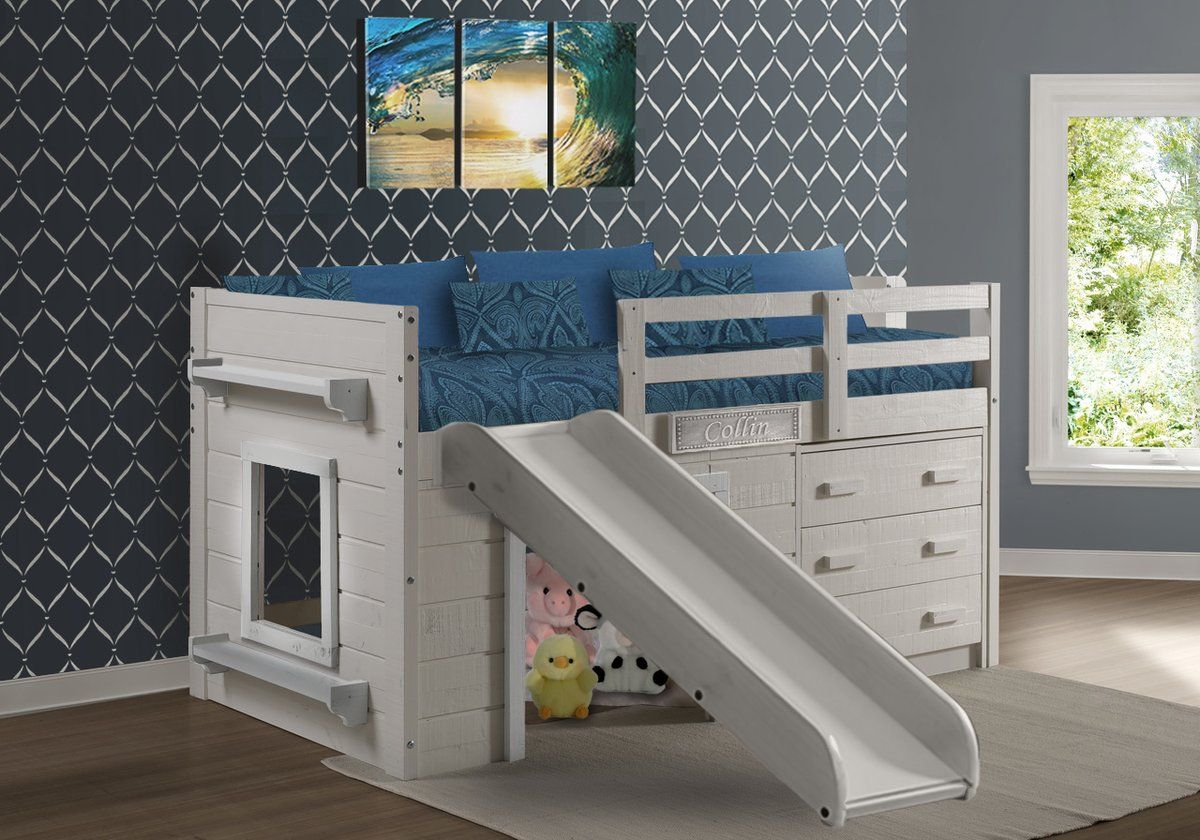Dreamers Loft Bed W Slide White White Loft Beds Universe Low Loft Beds Low Loft Beds For Kids Kids Room Bed Low loft beds with slide