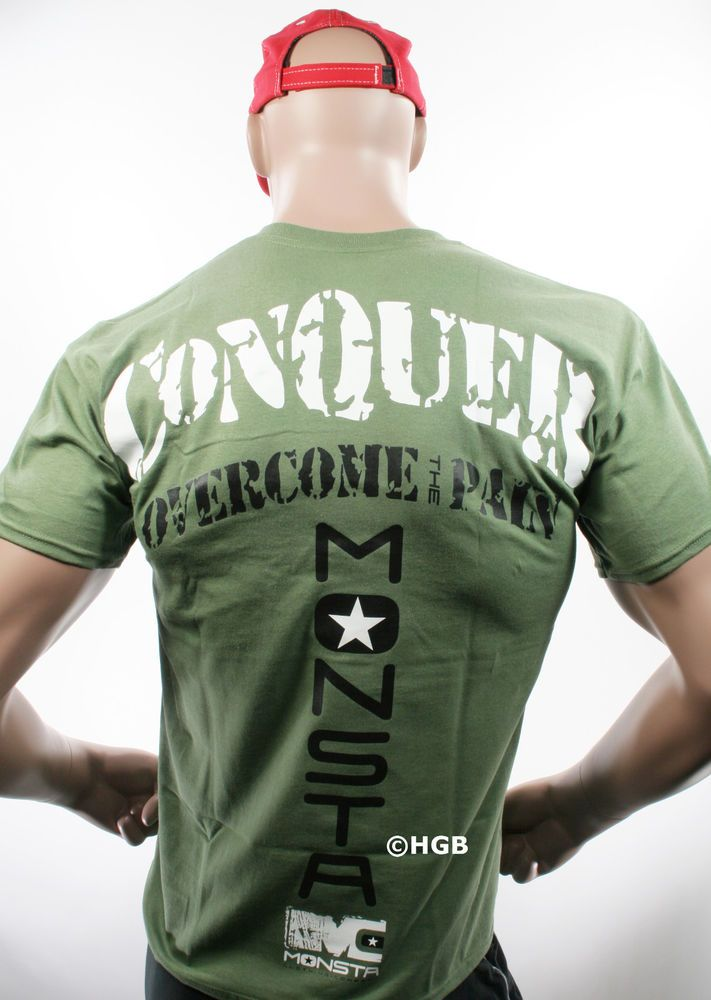 NEW Mens TEE SHIRT MONSTA Bodybuilding Wear CONQUER GREEN T-Shirt Gym Clothing