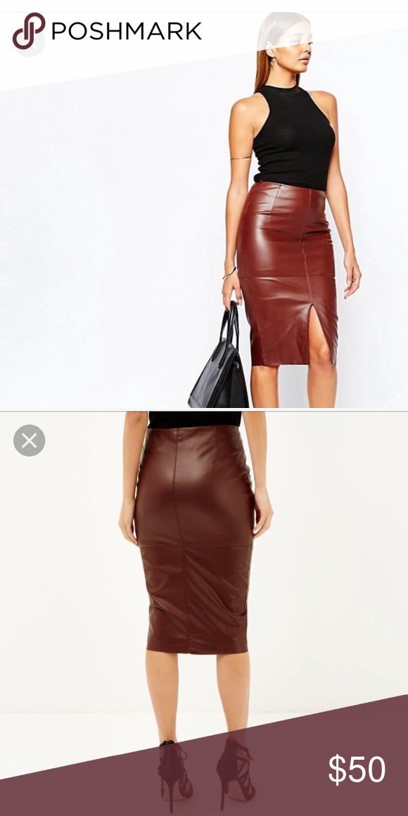 a9082ef2f2 River Island Leather-Look Split Front Skirt