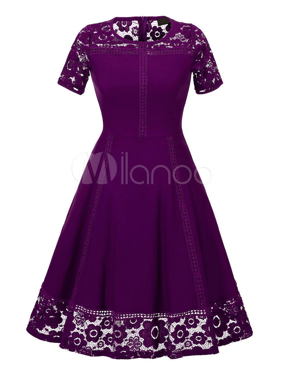 Women S Vintage Dress Purple Lace Patch Short Sleeve Pleated Retro Flare Dress Womens Vintage Dresses Summer Dresses For Women Vintage Dresses [ 1316 x 1000 Pixel ]
