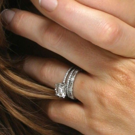 Lovely Kate Beckinsale us Emerald Cut Diamond Engagement Ring and Wedding Band