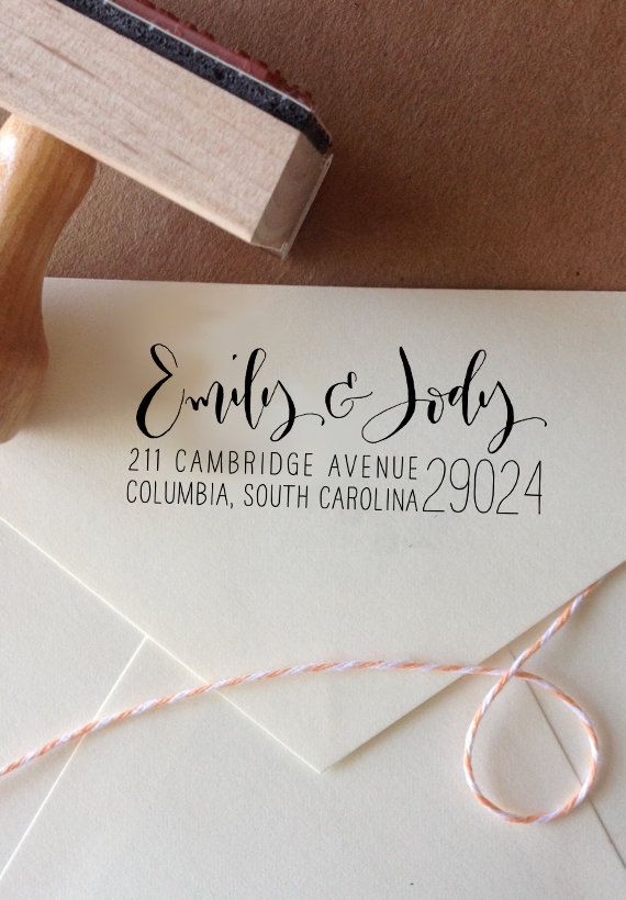 Calligraphy Return Address Stamp Custom Address Stamp