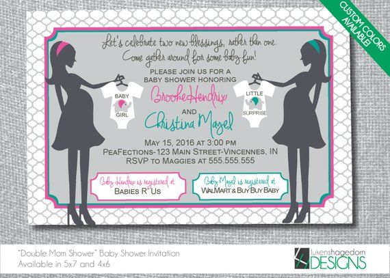 2202688b062 Mothers Double Baby Shower Invitation - Custom Colors - Digital File Only