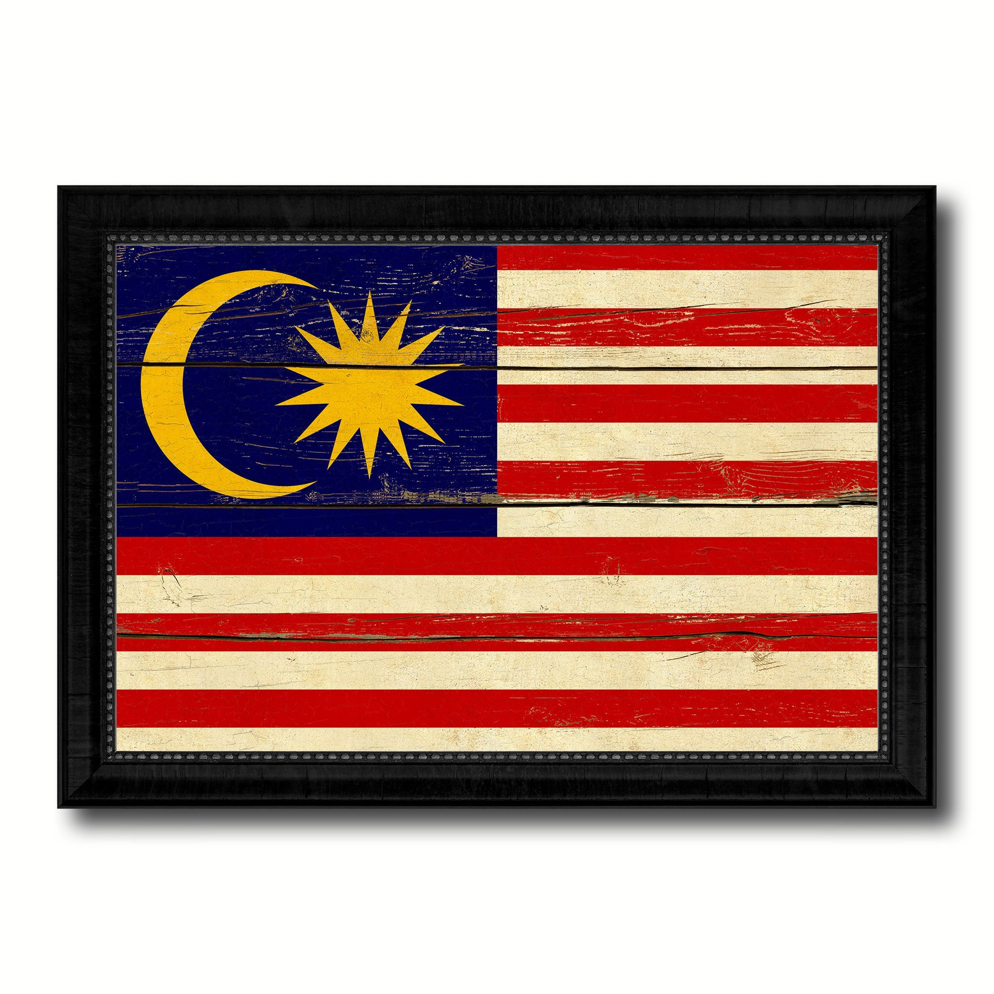 Malaysia Country Flag Vintage Canvas Print with Black Picture Frame ...