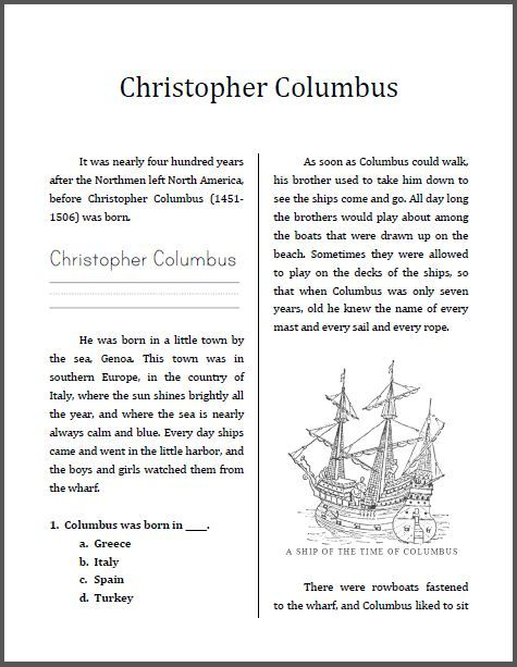 Free Christopher Columbus Mini Unit Workbook This Is Designed For