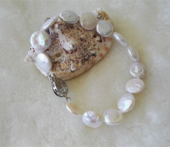 gratis envío-Perla pulsera pulsera de la perla de la moneda