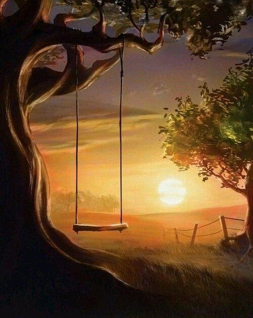 Дерево качели природа картинки