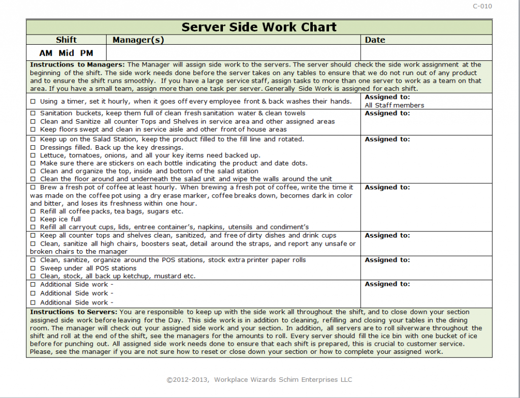 Restaurant Checklist Template