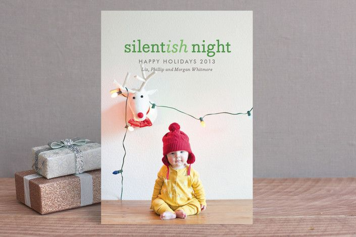 Christmas Card baby photo Silentish Night by Wondercloud Design at minted.com
