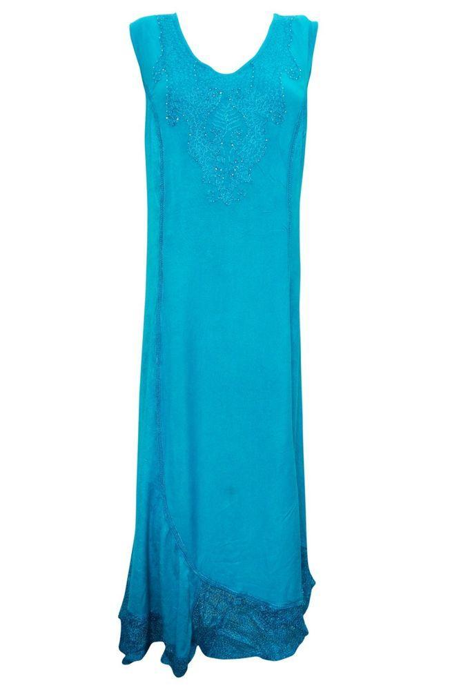 WOMEN'S SLEEVELESS DRESS BLUE FLORAL EMBROIDERED BOHO BOHEMIAN HIPPIE SUNDRESS M #mogilinterior #Sundress #SummerBeach