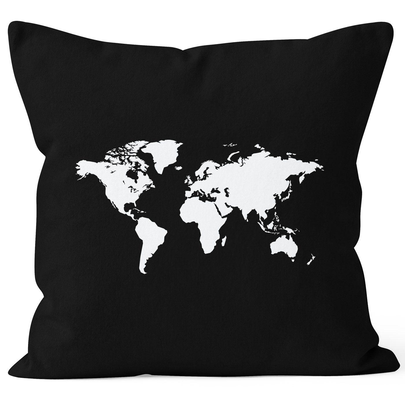 Bedruckter Kissenbezug 40x40 Weltkarte World Map Kissen Hulle
