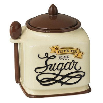 Coffee Break Sugar Bowl with Spoon by Grasslands Road Made of