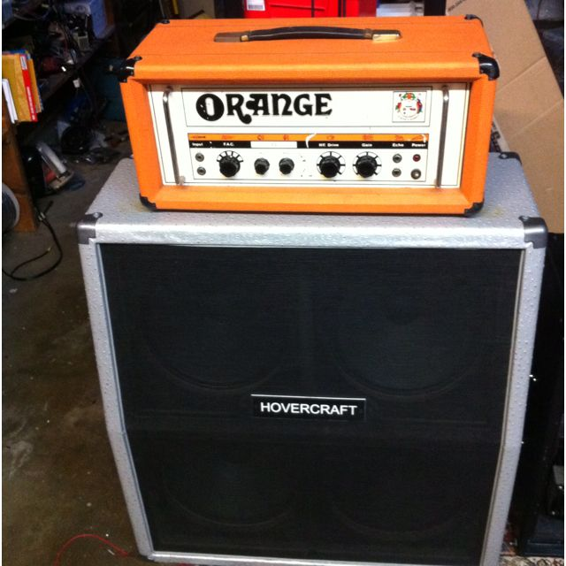 Vintage orange or80 or120 with hovercraft oversized 4x12 cabinet. All tuned up and ready to bring decades of vintage thick tone. Great match!!