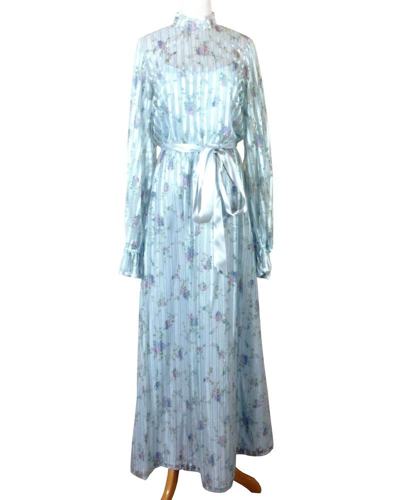 vtg 70s 80s Dance Allure Light Blue Semi Sheer Floral Formal Dress ...