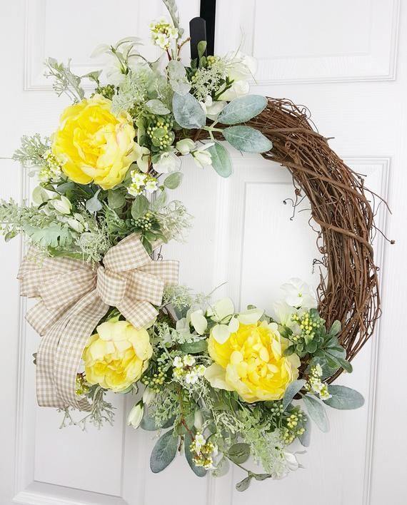 Photo of Daily yellow peony and lamb ear wreath, spring and summer wreath, favorite wreath, decor for veranda