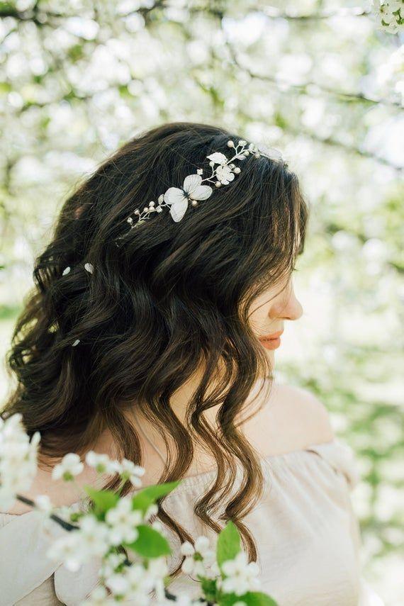 Photo of farfalla copricapo da sposa capelli vite seta farfalla da sposa avorio pezzo di capelli perla…