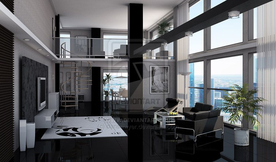 Dan sawyer black loft apartment black and white always for How to decorate a loft apartment