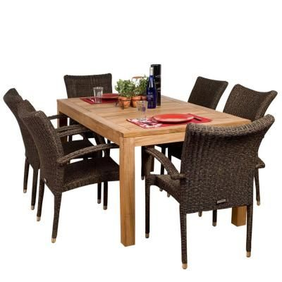Amazonia Brussels 7 Piece Teak All Weather Wicker Patio Dining Set Sc Brussels