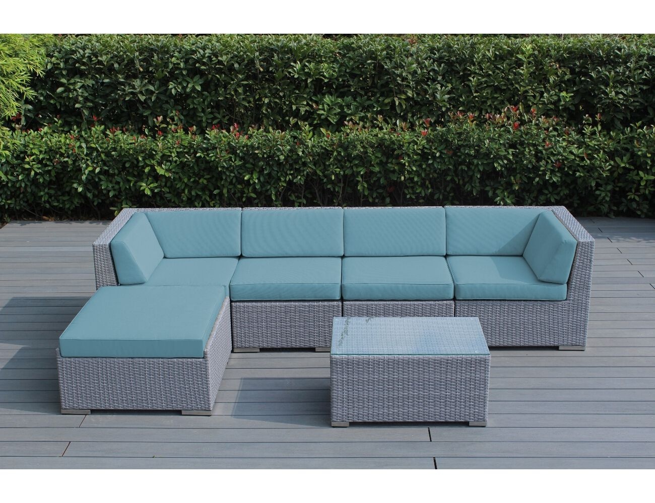 All weather outdoor furniture sunbrella mineral blue with gray wicker ohana deep seating set