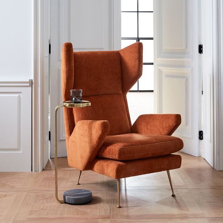 marcelle mid century wing chair inspired by the angular silhouettes rh pinterest com