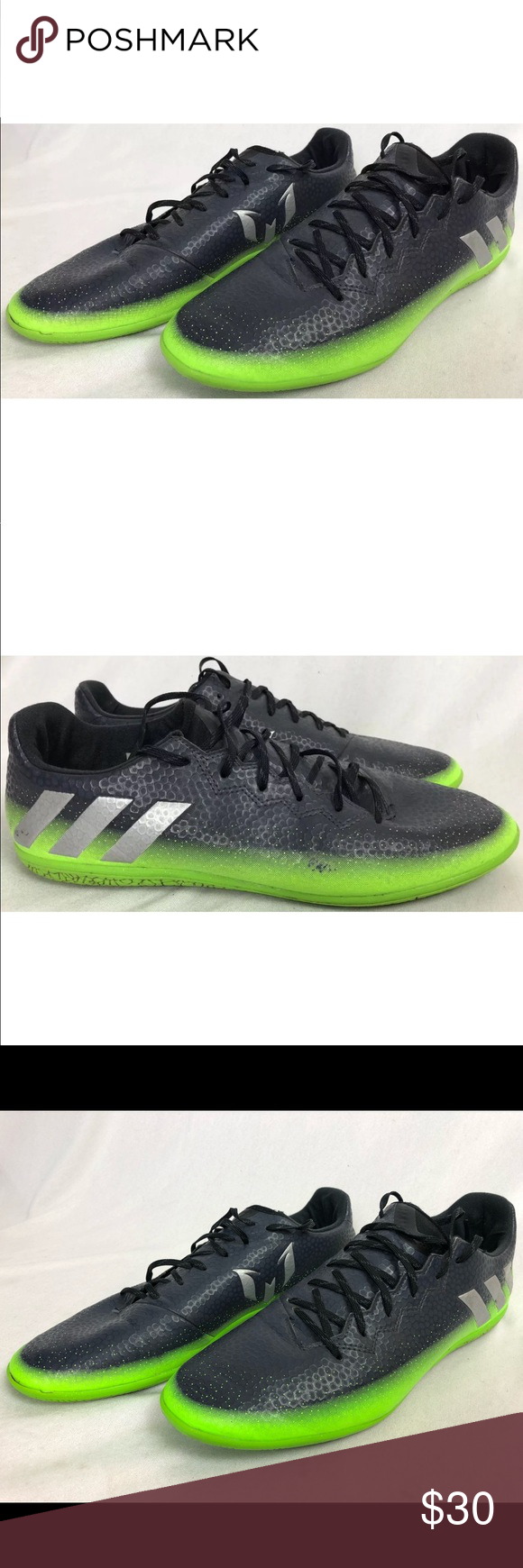 Adidas Men S 10 5 M Indoor Soccer Shoes Messi 16 3 You Are Buying A Pair Of Men S Adidas Messi 16 3 Indoor Soccer Shoes Color Black Gre Soccer Shoes Adidas Men