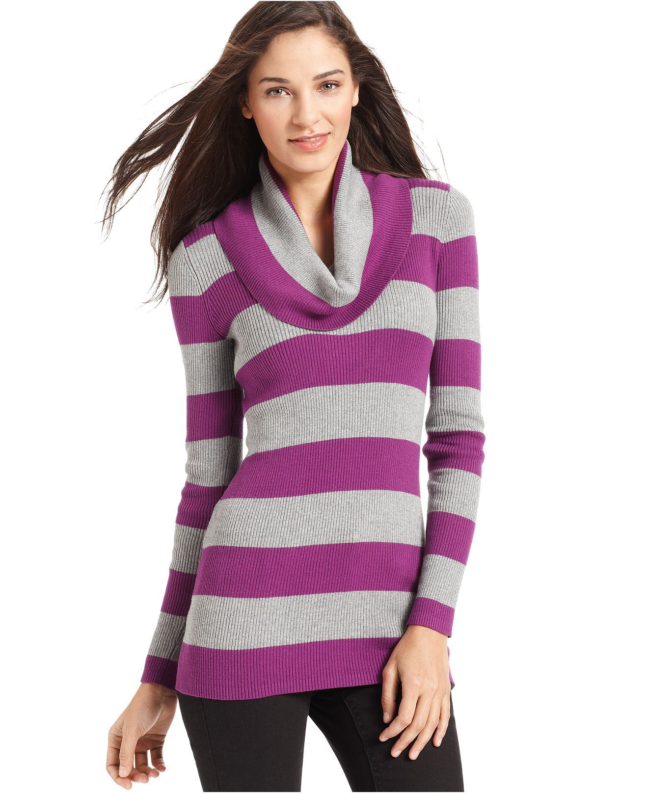 DKNY Jeans Long-Sleeve Striped Cowl-Neck Sweater | {In my closet ...