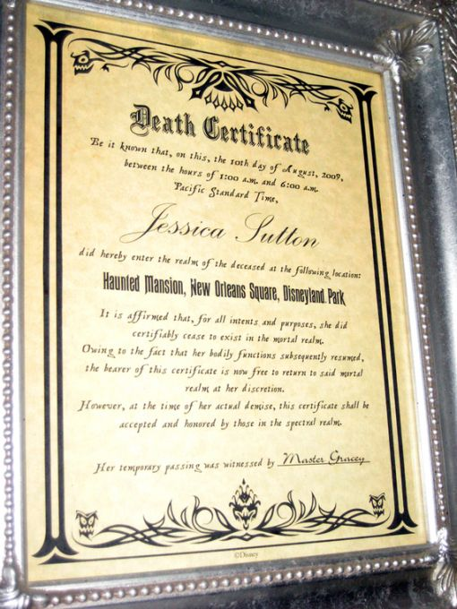Haunted Mansion Death Certificate Disney Pinterest Death