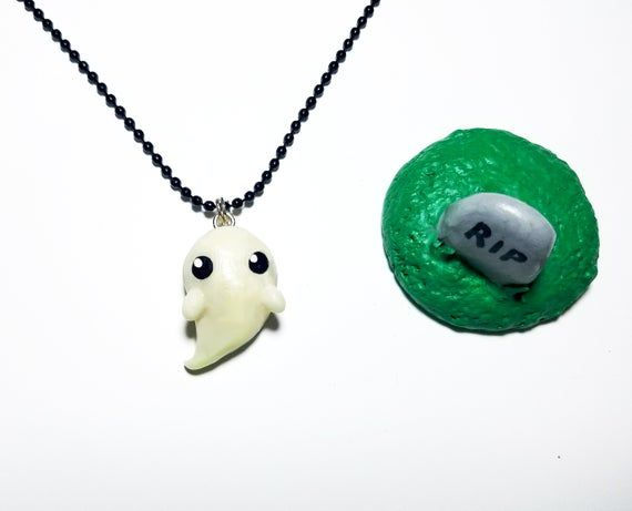 Halloween Necklace - Glow in the Dark Ghost Necklace with a Magnetic Base Stand for Decoration - Hal #pictureplacemeant