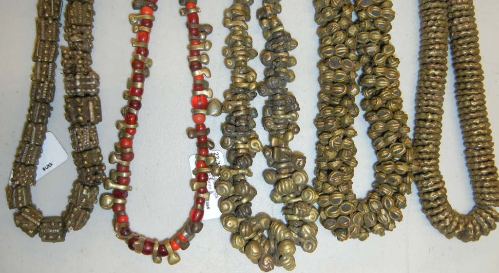"""Metal Beads from Africa including """"Igbo bugs"""" with and without red glass beads"""