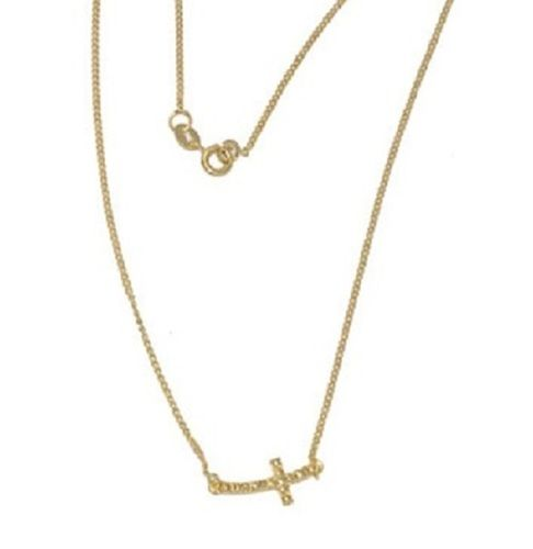 18kt Brazilian Gold Filled Curved Cross Necklace Starting at 10
